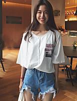 Damen Buchstabe Einfach Lässig/Alltäglich T-shirt,V-Ausschnitt Halbe Ärmel Baumwolle