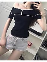 Tee-shirt Femme,Couleur Pleine Soirée Sexy Manches Courtes Epaules Dénudées Autres