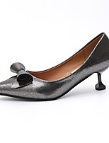 Women's Heels Light Soles PU Summer Casual Dress Kitten Heel Silver Black 1in-1 3/4in