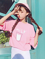 Women's Casual/Daily Simple T-shirt,Print Round Neck Half Sleeves Polyester