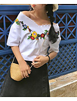 Damen Solide Stickerei Retro Ausgehen Arbeit T-shirt,V-Ausschnitt Sommer Kurzarm Baumwolle Dünn