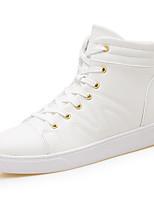 Для мужчин Кеды Удобная обувь Осень Зима Дерматин Повседневные Шнуровка На плоской подошве Белый Черный На плоской подошве