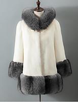 cheap -Women's Daily Casual Winter Fall Fur Coat,Solid Shirt Collar Long Sleeve Regular Fox Fur