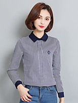 Women's Casual/Daily Simple Shirt,Print Shirt Collar Long Sleeves Cotton