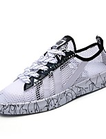 Men's Sneakers Comfort Summer Fall Tulle Casual Lace-up Flat Heel White Black Flat
