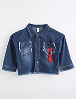 Girls' Color Block Jacket & Coat,Cotton Spring Fall Long Sleeve