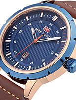 Herrn Sportuhr Militäruhr Modeuhr Armbanduhr Einzigartige kreative Uhr Armbanduhren für den Alltag Quartz Kalender Echtes Leder Band