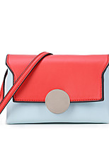 Women Bags All Seasons PU Shoulder Bag Metallic Buckle Split Joint for Event/Party Casual Formal Outdoor Office & Career Orange Blushing
