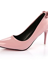 Women's Heels Comfort Summer PU Dress Bowknot Stiletto Heel Black Ruby Blushing Pink Light gray 2in-2 3/4in