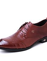 baratos -Homens sapatos Pele Real Pele Primavera Conforto Sapatos formais Oxfords para Casual Ao ar livre Preto Marron