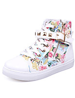 Women's Boots Bootie Spring Summer Fall Winter PU Canvas Casual Outdoor Dress Buckle Flat Heel Blushing Pink Blue Black White Flat