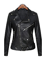 Women's Casual/Daily Street chic Punk & Gothic Spring Fall Leather Jacket,Solid Peaked Lapel Long Sleeve Regular PU