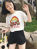 Damen Druck Einfach Lässig/Alltäglich T-shirt,Rundhalsausschnitt Kurzarm Baumwolle