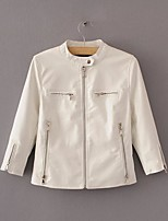 Women's Going out Casual/Daily Simple Street chic Spring Fall Leather Jacket,Solid Round Neck Long Sleeve Regular Others
