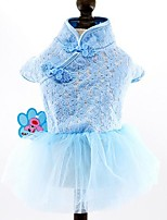 Dog Dress Dog Clothes Casual/Daily Embroidered Blue Blushing Pink