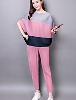 Camicia Pantalone Completi abbigliamento Da donna Casual Semplice Estate,Monocolore Rotonda Manica corta
