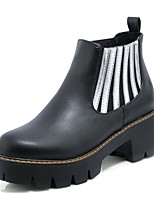 Women's Boots Fashion Boots Combat Boots Leatherette Fall Winter Casual Dress Gore Chunky Heel Gray Black 1in-1 3/4in