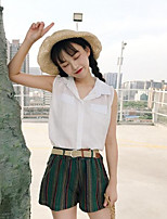 Women's Casual/Daily Simple Summer Blouse Pant Suits,Striped Cowl Short Sleeve