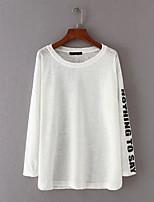 T-shirt Da donna Per uscire Casual Sensuale Semplice Moda città Estate Autunno,Tinta unita Alfabetico Rotonda Cotone Manica lungaSottile