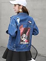 Women's Casual/Daily Street chic Spring Fall Denim Jacket,Print Shirt Collar Long Sleeve Short Cotton
