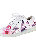 Women's Sneakers Light Up Shoes Fall PU Casual Dress Lace-up Flower Flat Heel White 1in-1 3/4in