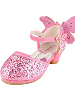 Girls' Flats Comfort Novelty Flower Girl Shoes Fall Winter Paillette Leatherette Casual Dress Sequin Flat Heel Blushing Pink Silver Flat