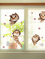 Window Film Window Decals Style Funny Cat PVC Window Film