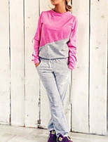Women's Casual/Daily Simple Spring T-shirt Pant Suits,Color Block Round Neck Long Sleeve