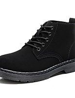 Women's Boots Fashion Boots Bootie Combat Boots Nubuck leather Fall Winter Casual Outdoor Office & Career Lace-up Flat Heel Black Flat