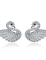 Women's Stud Earrings Cubic Zirconia Basic Silver Drop Jewelry For Wedding Party Gift Daily Casual