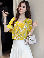 Women's Casual/Daily Sexy Blouse,Solid Floral V Neck Short Sleeves Cotton