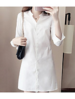 Women's Casual/Daily Simple Spring Shirt,Solid Stand Long Sleeves Others Medium