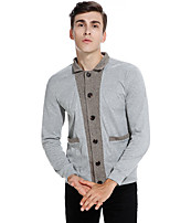 Men's Sports Going out Vintage Simple Street chic Regular Cardigan,Color Block Shirt Collar Long Sleeves Cotton Spring Fall Medium