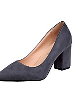 Damen High Heels Komfort Sommer PU Normal Kleid Block Ferse Schwarz Grau 5 - 7 cm
