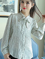Women's Casual/Daily Simple Spring Blouse,Striped Shirt Collar Long Sleeves Cotton Medium