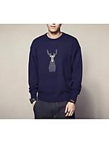 Normal Pullover Homme Sortie Décontracté / Quotidien Vintage simple,Couleur Pleine Imprimé Col Arrondi Manches Longues Coton Rayonne