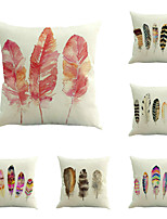 Set Of 4 Baroque Vintage Feather Printing Pillow Cover Classic Square Pillow Case Cotton/Linen Cushion Cover