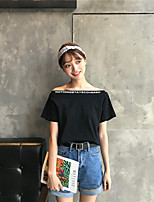Women's Casual/Daily Simple T-shirt,Letter Boat Neck Short Sleeves Cotton