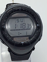 Herrn Sportuhr Armbanduhr Chinesisch Solarenergie Kalender Alarm Stopuhr Nachts leuchtend Caucho Band Cool Schwarz