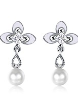 Women's Stud Earrings Drop Earrings Cubic Zirconia Imitation Pearl AAA Cubic Zirconia Basic Tassel Simple Style Classic Fashion Vintage