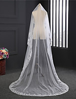 Lady's Elegant Classic Wedding Veil One-tier Chapel Veils Lace Applique Edge Lace Tulle