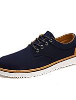 Для мужчин Кеды Удобная обувь Весна Осень Хлопок Повседневные Шнуровка На плоской подошве Черный Темно-синий На плоской подошве