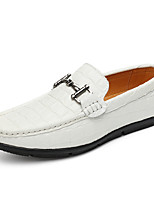 Men's Loafers & Slip-Ons Comfort Real Leather Spring Fall Casual Comfort Flat Heel Light Brown Navy Blue Black White Flat