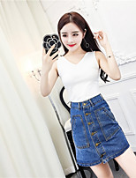 Women's Casual/Daily Simple Summer Tank Top Skirt Suits,Solid V Neck Sleeveless