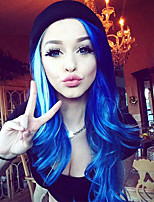 uniwigs Heat Friendly Fiber Synthetic Lace Front Wigs Ombre Color Long Wavy Style Gem Blue