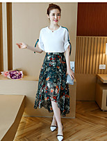 Women's Daily Soak Off Summer T-shirt Skirt Suits,Solid Floral Print Round Neck Short Sleeve