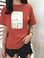 Women's Going out Street chic T-shirt,Color Block Round Neck Half Sleeves Others