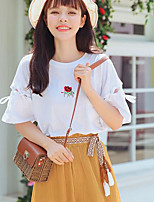 Women's Casual/Daily Simple T-shirt,Print Round Neck Short Sleeves Cotton Others