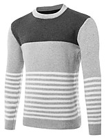 Men's Sports Going out Casual/Daily Simple Regular Pullover,Solid Round Neck Long Sleeves Wool Fall Winter Medium Stretchy