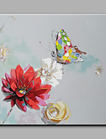 Hand-Painted Butterfly Gathering Honey Modern Art One Panel Canvas Oil Painting For Home Decoration